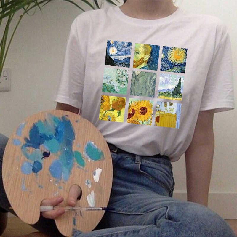 LUS LOS Van Gogh คลาสสิก Works Starry Night พิมพ์ผู้หญิงแขนสั้นเสื้อ Harajuku T หญิงสีขาว Causal Super soft Tee