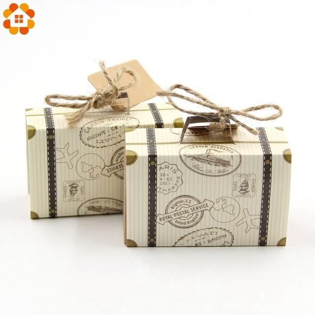 10pcs Lot Diy Travel Paper Box Vintage Mini Suitcase Candy Sweet Bags Wedding Favor