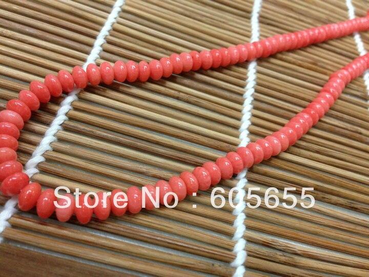 Розовый море бамбука Коралловые 4x6 мм баррель Бусины 10strands за лот