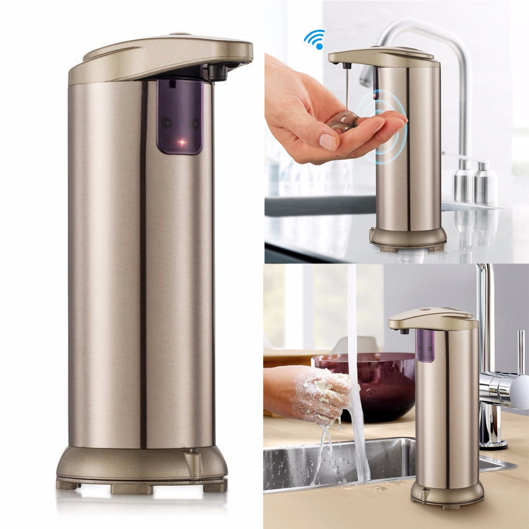 Mayitr Automatic IR Sensor Soap Dispenser Handsfree Touchless Soap Liquid Dispenser Stainless Steel Bathroom Hardware 280ml automatic liquid soap dispenser stainless steel sensor soap dispenser pump shower kitchen soap bottle for bathroom
