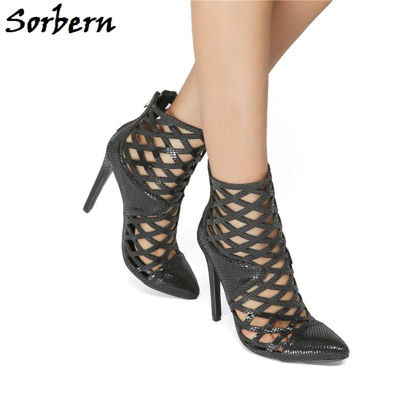 bf25380e9b50a Pour Dames Grande Peau Haute Made Taille Talon Sorbern De Custom Stilettos  Serpent Zipper Chaussures D été Noir Femmes Cheville Mode Sandales ...