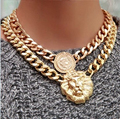 GP Coin Lion Head Fixed Pendant Cuba Chain Necklace Medallion Queen Western Unconditional Lifetime Replacement Guarantee