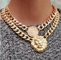 GP Монета Львиная Голова Фиксированной Кулон Куба Ожерелье Медальон Queen Западный Безусловную Пожизненную Гарантию Замены
