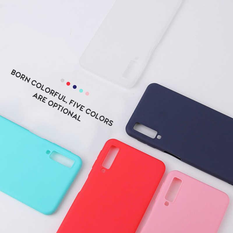 צבעוני מט סיליקון מקרה טלפון עבור Samsung Galaxy A7 2018 J6 J4 A8 A6 S8 S9 בתוספת J7 2018 S7 קצה מקרה כיסוי אחורי רך Coque
