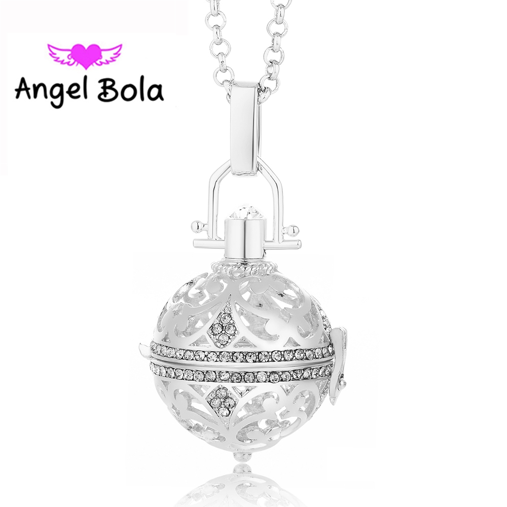 25Pcs/Wholesale Angel Bola Crystal Essential Oil Cage Necklaces Harmony Caller Pendants for Woman Gift Jewelry 24mm L048