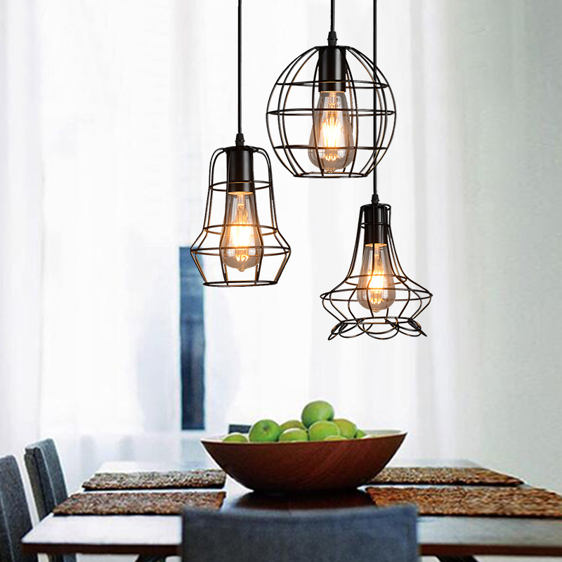 Loft American Iron warehouse industrial wind small chandelier retro European style village restaurant bar staircase lighting american style retro industrial wind european living room restaurant lamp clothing shop iron birdcage crystal chandelier