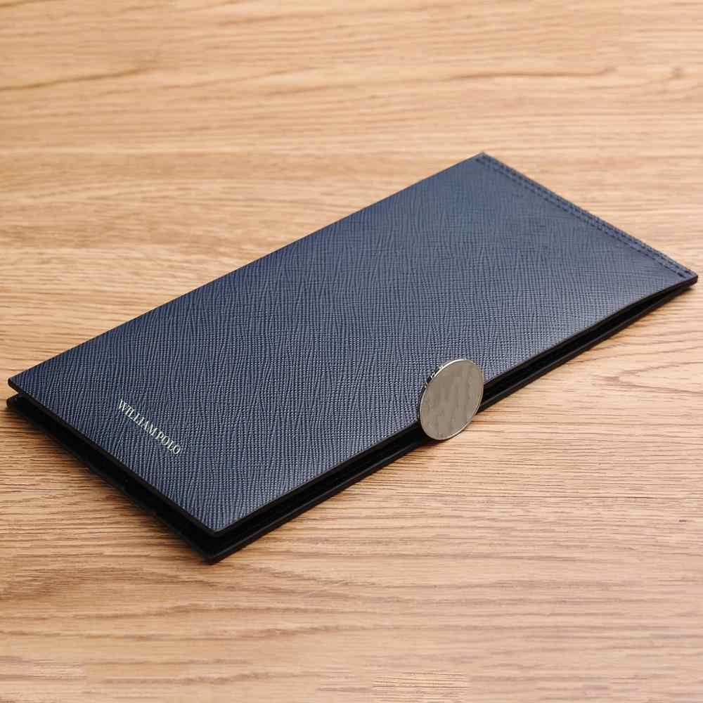 WilliamPOLO 2019 Luxury Brand Long Men Wallets Credit Card Holder Genuine Leather Bifold Multi Clutch Card Cases Ultrathin Purse