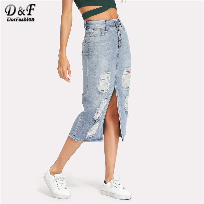 6281708de5 Dotfashion Split Front Ripped Denim Skirt 2019 New Fashion Summer Long  Sheath Skirt Women Blue Slit Mid Waist Casual Skirt