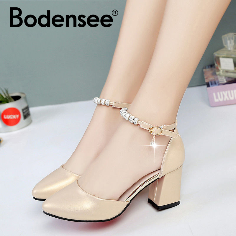 BODENSEE Women Pumps 3-5 CM Mid Heel Female Ankle Strap Thick Heels Shoes Women Party Wedding Pumps