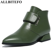ALLBITEFO euro:33-42 genuine leather low-heeled women boots fashion pointed toe high-heeled platform martin boots ankle boots