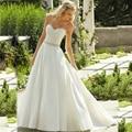 Envío Gratis Vestido De Boda Simple Elegante Tribunal Tren Cariño Satinado vestido de Novia Por Encargo Para Mujer Vestidos de Novia
