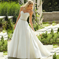 Free Shipping Simple Wedding Dress Elegant Cour Train Sweetheart Satin Bridal Gown Custom Made For Womens Vestidos De Novia