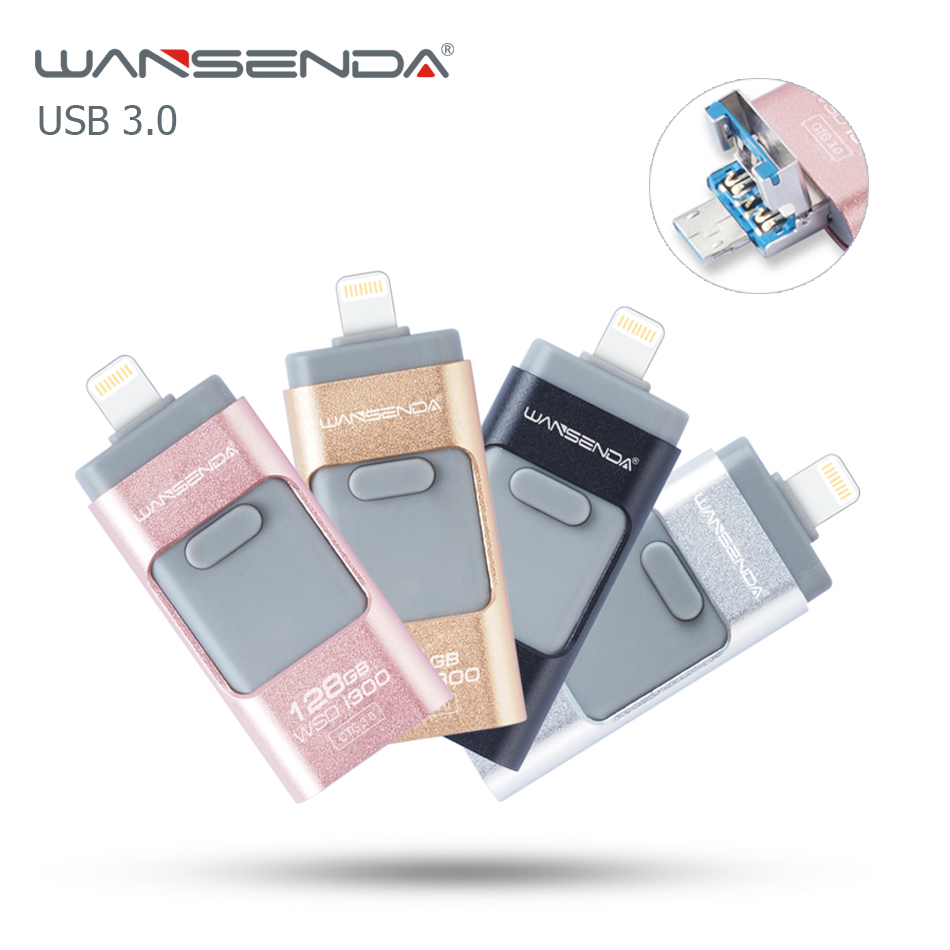 NEW Wansenda OTG USB Flash Drive USB 3.0 Pendrive 32GB 16GB High Speed 3 in 1 Pen Drive for iphone/ipad/Android/PC free package wansenda usb 3 0 android otg usb flash drive 64gb pen drive 8gb 16gb 32gb usb 3 0 fast speed pendrive usb stick retail package