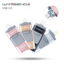НОВЫЙ Wansenda OTG USB Flash Drive USB 3.0 Pendrive 32 ГБ 16 ГБ высокая Скорость 3 в 1 Ручка Привода для iphone/ipad/Android/PC бесплатный пакет