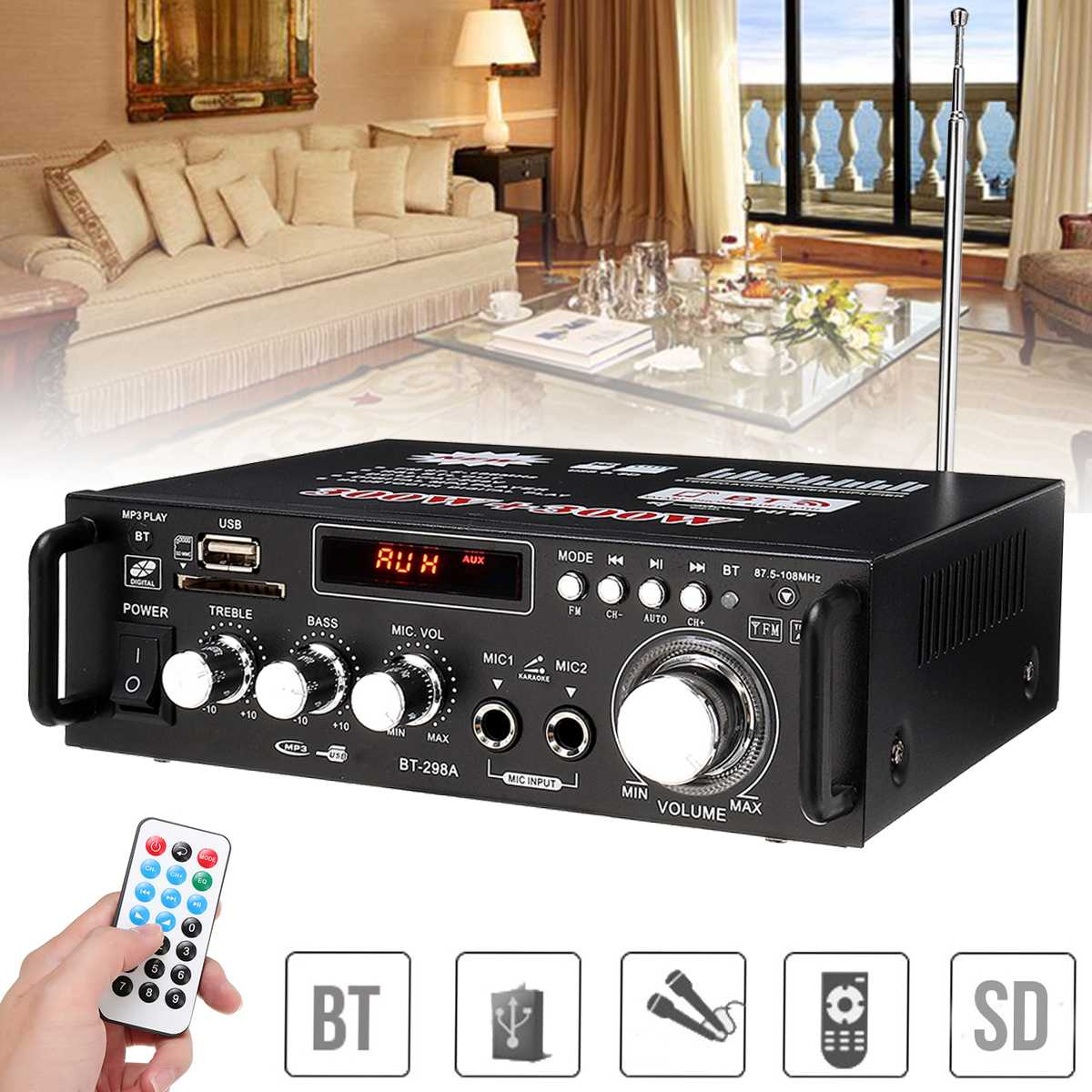 600 Вт домашний усилитель HIFI USB FM радио автомобиль аудио усилители Bluetooth проигрыватель сабвуфер Театр звук Системы с пультом дистанционного у...