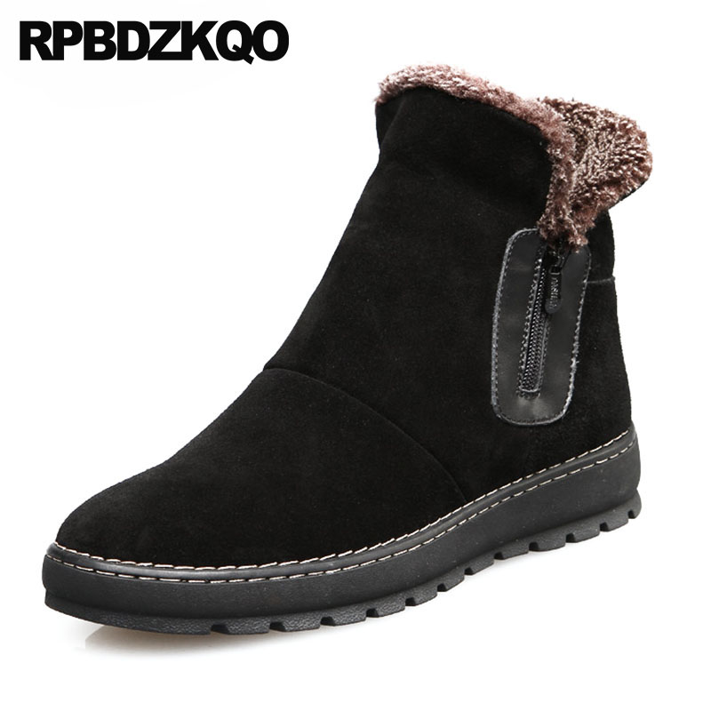 Ankle Snowboot Shoes Winter Australian Zipper High Top Black Booties Super Warm Boots Russian Style Full Grain Snow Men Fur Flat black super warm winter boots russian style full grain men fashion trainer sneakers high top genuine leather booties fur shoes
