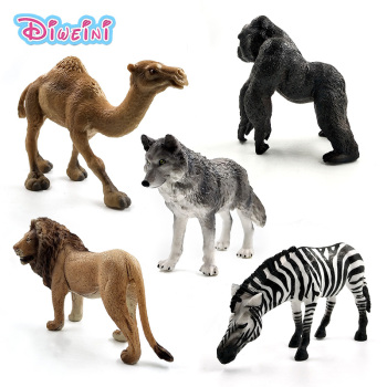 Artificial Zebra Lion Chimpanzee Came Wolf Simulation animal model Action figure plastic Decoration educational toy Gift For Kid