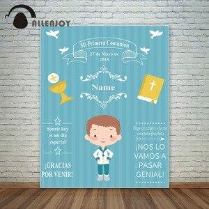 Image 1 - Allenjoy Mi Primera Communie Achtergrond Achtergrond Bijbel Decoratie Jongen Party Jezus Photocall Fotografie Foto Studio