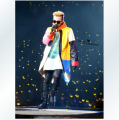 Men's singer bigbang rights Zhi-Long GD concert with models of color stitching leather Trench coat costumes Nightclubs dress