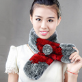 100% real knitted rabbit Fur collar scarf patchwork rex rabbit hair stole women's 6 colors winter warm lady natural fur muffler