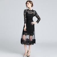 Black dress water soluble flower lace stitching mesh dress