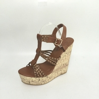 Brown T Strap Women Sandals High Heels Wedge Shoes Women Heels Platform T Strap Women Size