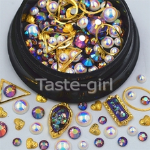Mixed sizes  metal Nail Art Decoration Glitter 3D  Rhinestones pearls frame nail supplies jewelry beauty Manicure DIY tools #4
