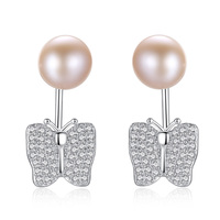 Romantische leuke 925 sterling zilveren vlinder oorbellen parel ontwerp voor meisjes