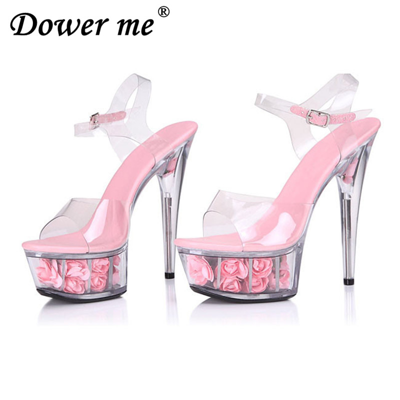 Women Pumps 2017 Sexy Transparent Glass Slipper Woman Sandals Ultra Women High Heels Shoes 15 cm Thin Large Size 34-40 soft red big size 40 41 42 women pumps 11 cm thin heels fashion beautiful pointy toe spell color sexy shoes discount sale free shipping