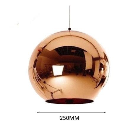 Globe Copper Color Glass Mirror Ball Pendant Light