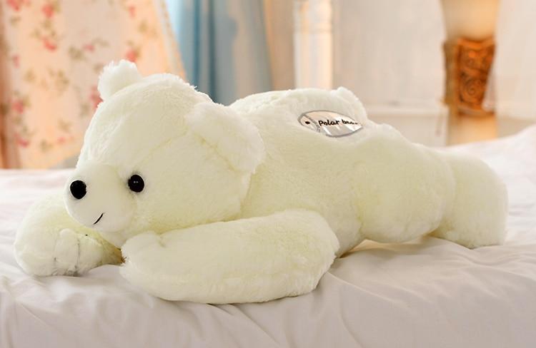 middle size plush polar bear toy lovely white lying polar bear doll birthday gift abou 55cm 0024 big cute simulation polar bear toy handicraft lovely white polar bear doll gift about 31x18cm