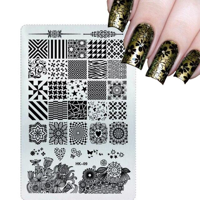 NEW 2017 Glitter Square Stamping Plates Nail Art Stencils Templates ...