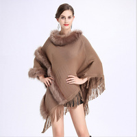 FXFURS Autumn Winter New Fur Round Collar Cashmere Fox Fur Poncho Shawl Cape Women Tassels Pullover Cloak Coat Pashmina