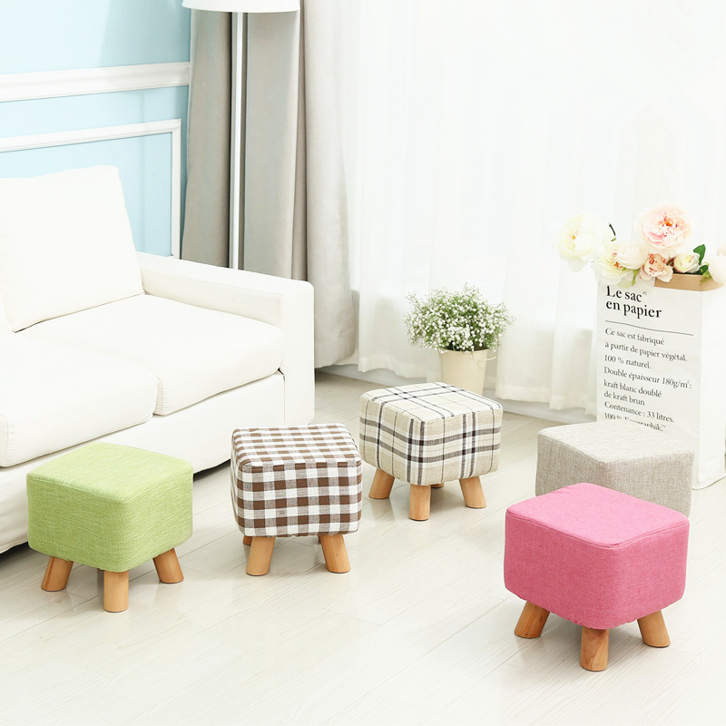 Attractive Fashion Creative Modern Shoes Stool Stable 4 Legs Solid Wood Sitting Stool  Soft Linen Fabric Sofa