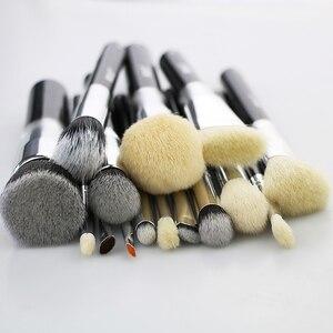 Image 3 - BEILI pelo di capra Big Powder Foundation fard contorno ombretto set di pennelli trucco professionale nero pennello cosmetico
