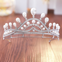 New Freshwater Pearls Brides Tiara Crown With Tiny AAA Cubic Zirconia Paved Princess Queen Tiara Coronet Wedding Hair Jewelry