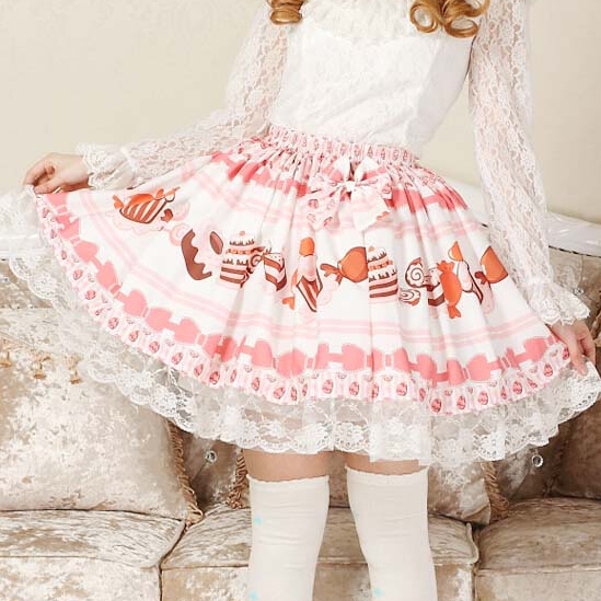 29d7de26a8df5 Adomoe Bebek Pembe Şeker Etek Sevimli Kek baskılı Japonya Kawaii Eelegant  Dantel Lolita etek Prenses SK Pretty Etekler Kadınlar için