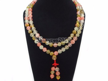 Natural Volcano Cherry 10mm Gems Stone Buddhist 108 Bead Prayer Mala Long Necklace Multi-Purpose Bracelet Necklace 5Strands/Pack