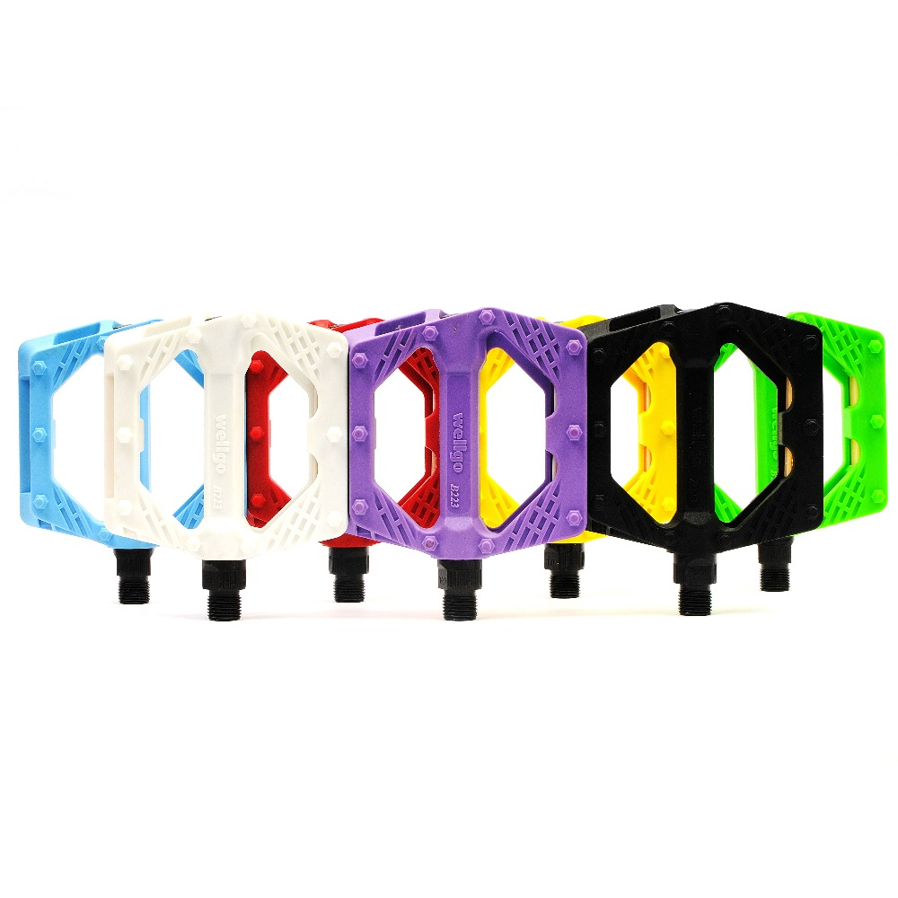 Wellgo B223N Antislip Nylonfiber ultralette med reflektor Kuglelejerpedal BMX Cykelcykelpedaler Farverig gratis forsendelse