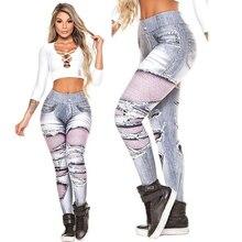 дешево!  Цифровые печатные леггинсы джинсы женские леггинсы с высокой талией Feminina Jeggings Push Up Sexy