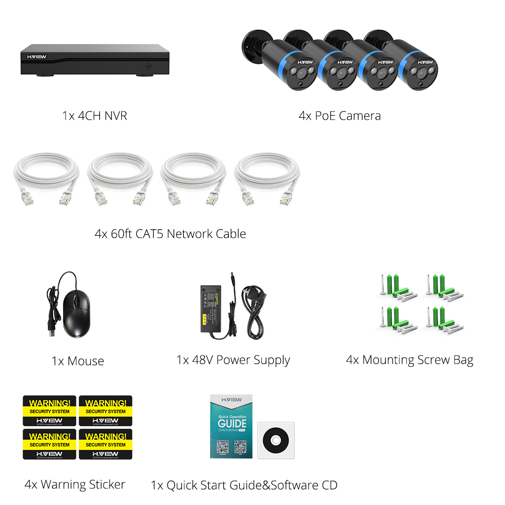 Image 5 - H.VIEW 4ch 1080p CCTV Camera System PoE H.265 CCTV Camera System 2mp Surveillance Kit PoE 48V Surveillance Kit Full HD-in Surveillance System from Security & Protection