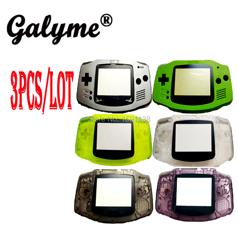 3pcslot Hot Multi-Color Plastic Housing Fit For GameboyAdvance Shell Game Console w Original Screen Lens Case Cover Boy Advance