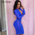 Fashion Lace Slinky Nightclub Tight Dress Sexy Bandage Long Sleeves Hollow Mini Striped Bar Club Wear Erotic Dress Open Bust