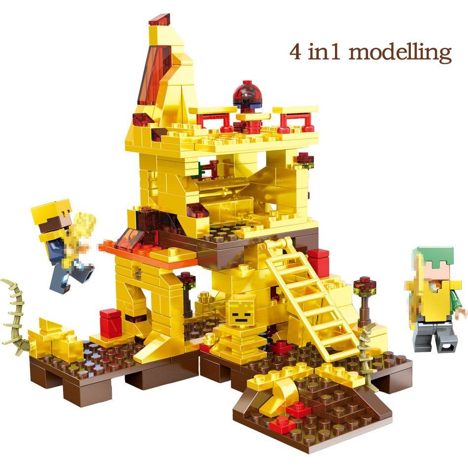 MY World Technic Golden Dragon Building Blocks Compatible LegoINGLYS Minecrafter Golden World Eductional Kit Children Toy 293PCS 2