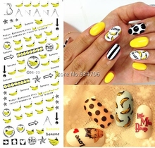 DS023 Golden New 2017 Nail Diy Art Tips Decoration Sticker Nails Wraps Styling Glitter Banana Cute Water Transfer Sticker