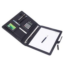 8 pakietów Folder A4 PU Ring Binder Organizer na dokumenty foldery z kalkulatorem aktówka Organizer Business Office Supplies