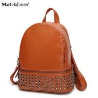 Brand Women Designer Rivets Genuine Leather Backpack 4 Colors Vintage High Quality Girls School Rucksack Ladies