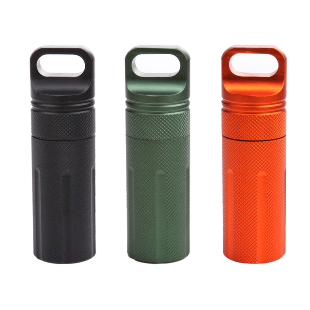 Waterproof Capsule Seal Bottle Aluminium Alloy Outdoor EDC Survival Pill Box Container First Aid Emergency Pills Case 3 color