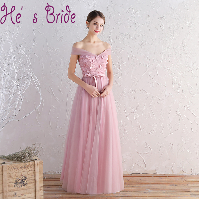 Pink cheap bridesmaid dress 2017 with appliques v neck for Wedding party dress up