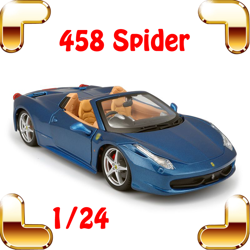 Christmas Gift 458 Spider 1/24 Model Alloy Static Car Collection Strong Metal Diecast Display Decoration Toys Scale Simulation maisto jeep wrangler rubicon fire engine 1 18 scale alloy model metal diecast car toys high quality collection kids toys gift